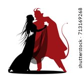 silhouette of romantic devil... | Shutterstock .eps vector #713169268