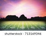 american football field under... | Shutterstock . vector #713169346