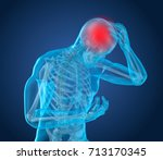 head pain attack  man suffering ... | Shutterstock . vector #713170345