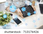 automation concept as an... | Shutterstock . vector #713176426