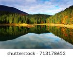 mountain lake and autumn forest ... | Shutterstock . vector #713178652