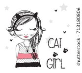 cute cat girl vector... | Shutterstock .eps vector #713180806
