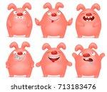 set of cartoon pink bunny... | Shutterstock .eps vector #713183476