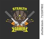 stealth gamer logo with guns ...   Shutterstock .eps vector #713187802