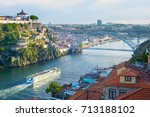 cruise ship arrives to porto by ... | Shutterstock . vector #713188102