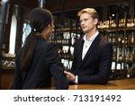 man talking woman for business... | Shutterstock . vector #713191492