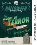 scary halloween party... | Shutterstock .eps vector #713193835