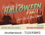 scary halloween party... | Shutterstock .eps vector #713193892