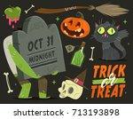 happy halloween card background.... | Shutterstock .eps vector #713193898