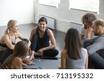 group of young sporty smiling... | Shutterstock . vector #713195332