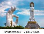 Small photo of White GuanYin statue in Nanshan Buddhist Cultural Park, Sanya, Hainan Island, China.