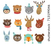 winter xmas happy animals... | Shutterstock .eps vector #713199046