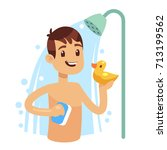 young man taking shower in... | Shutterstock .eps vector #713199562