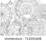 halloween pumpkin candles... | Shutterstock .eps vector #713201608