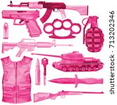 weapon set in shades of pink... | Shutterstock .eps vector #713202346