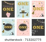 first birthday invitations... | Shutterstock .eps vector #713202775