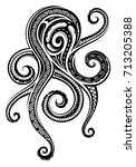 octopus tattoo with maori style ... | Shutterstock .eps vector #713205388