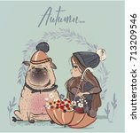 cute winter girl with dog and... | Shutterstock .eps vector #713209546