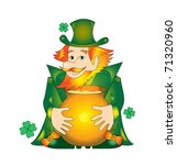 irish leprechaun with a pot of... | Shutterstock . vector #71320960