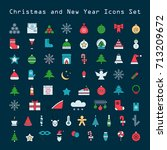 set of christmas icons. vector... | Shutterstock .eps vector #713209672