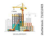 construction of residential... | Shutterstock .eps vector #713212405