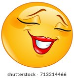 female emoticon smiling shyly... | Shutterstock .eps vector #713214466