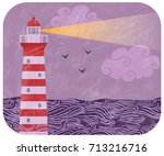 vintage illustration with red... | Shutterstock . vector #713216716