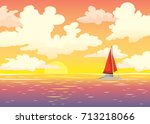 vector summer seascape red
