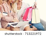 three beautiful young women...   Shutterstock . vector #713221972
