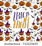 hand drawn halloween set. trick ... | Shutterstock .eps vector #713223655