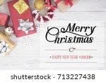 christmas background with... | Shutterstock . vector #713227438