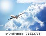 large passenger plane flying in