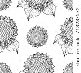 Sunflower Seamless Pattern Hand ...