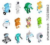 robots set in isometric style.... | Shutterstock .eps vector #713238862