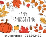 hand drawn happy thanksgiving... | Shutterstock .eps vector #713242432