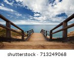 Wooden Pathway Built On A Rock...