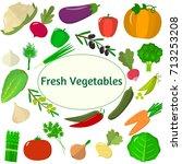 vector vegetables icons set in... | Shutterstock .eps vector #713253208
