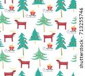 merry christmas seamless... | Shutterstock .eps vector #713255746