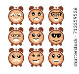 emoji emoticon expression icons ... | Shutterstock .eps vector #713259526