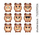 emoji emoticon expression icons ... | Shutterstock .eps vector #713259526