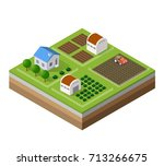 farm set of houses in isometric ... | Shutterstock .eps vector #713266675