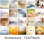 big set of 20 square blurred... | Shutterstock .eps vector #713274616