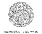 Floral Mandala In Black And...