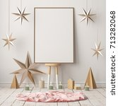mock up poster in the christmas ... | Shutterstock . vector #713282068