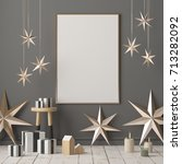 mock up poster in the christmas ... | Shutterstock . vector #713282092