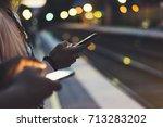 enjoying travel. young woman... | Shutterstock . vector #713283202