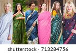 six pretty women pose in indian ... | Shutterstock . vector #713284756