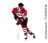 ice hockey player in red jersey ... | Shutterstock .eps vector #713290528