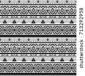 seamless monochrome folk ethno... | Shutterstock . vector #713292958