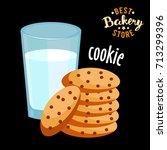milk and cookies flat icon...